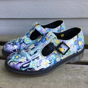 DR MARTENS Floral POLLEY Mary Jane Shoes 7 Mint